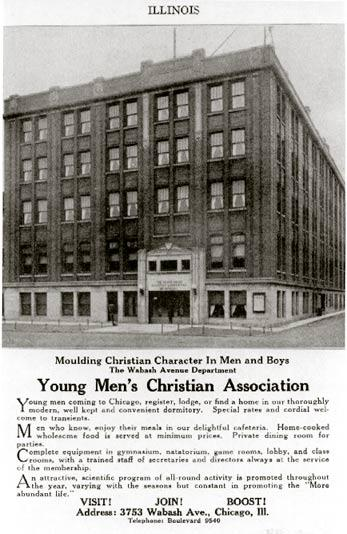 Wabash Avenue YMCA advertisement from <I>Simms' Blue Book and Directory<I/>, 1923