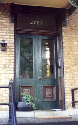 Original wood-paneled double doors, photo by Terry Tatum, 2000