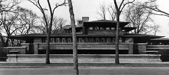 Robie House; 57th Street Elevation, photo by Richard Nickel