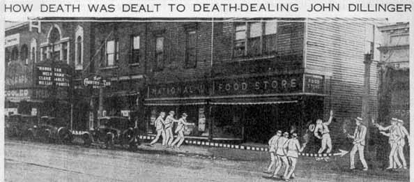 Newspaper recreation of Dillinger's death