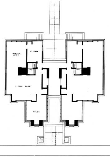 Floor plan from The Prairie School Review, First Quarter 1970