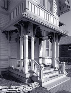 Porch detail, photo by Bob Thall, 1999