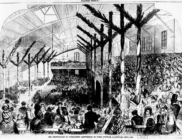 Interior of the Wigwam during the Republican National Convention, 1860
