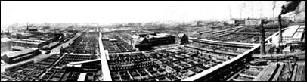 Aerial view of Stockyard, circa 1901, Courtesy of Chicago Historical Society