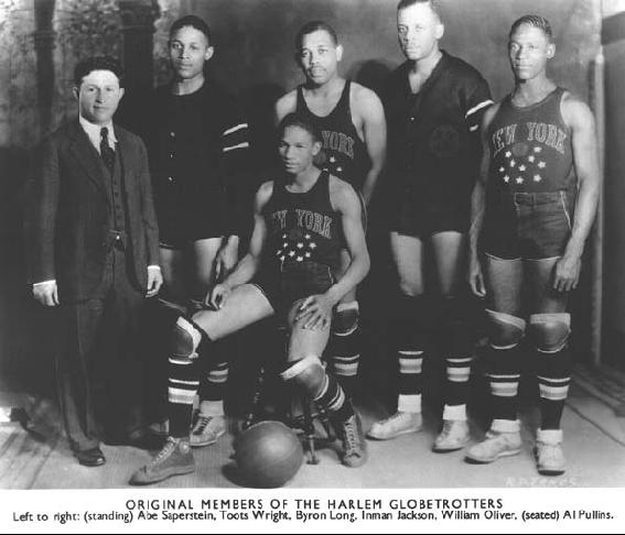 The Harlem Globetrotters with several Phillips players, 1930s