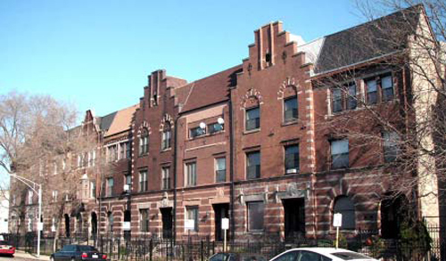 Flemish revival-style row houses, Giles Ave.