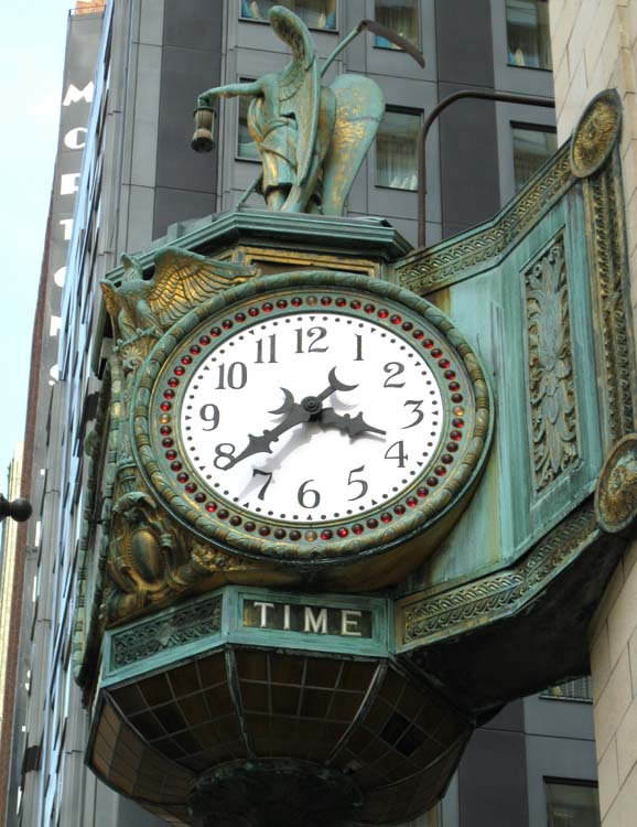 Clock on north-east corner of building
