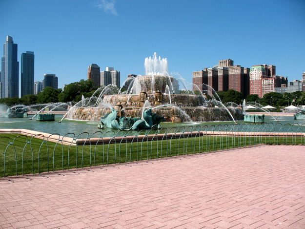 Fountain with skyline backdrop
