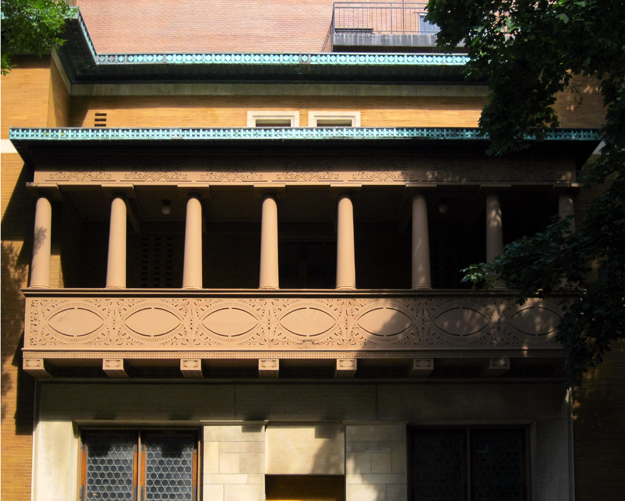 Second story colonaded balcony