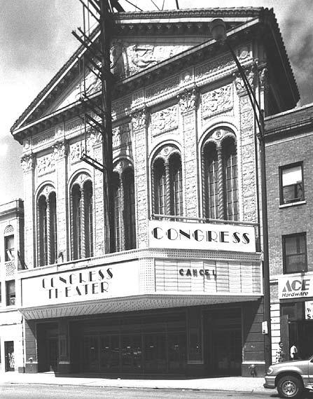 Exterior view of Congress Theater entrance, photo by Terry Tatum, 2000