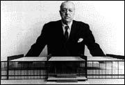 Mies van der Rohe with scale model