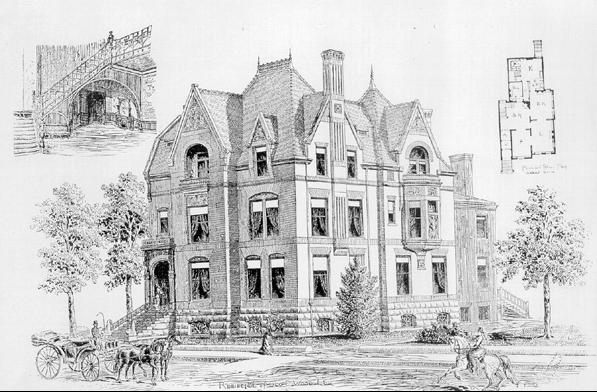 Wood House, historic rendering, 1885